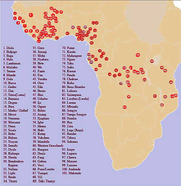 Map of Africa Regions and Tribes